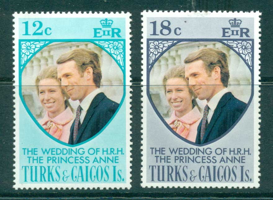 Turks & Caicos Is 1973 Princess Anne Wedding MUH Lot30276