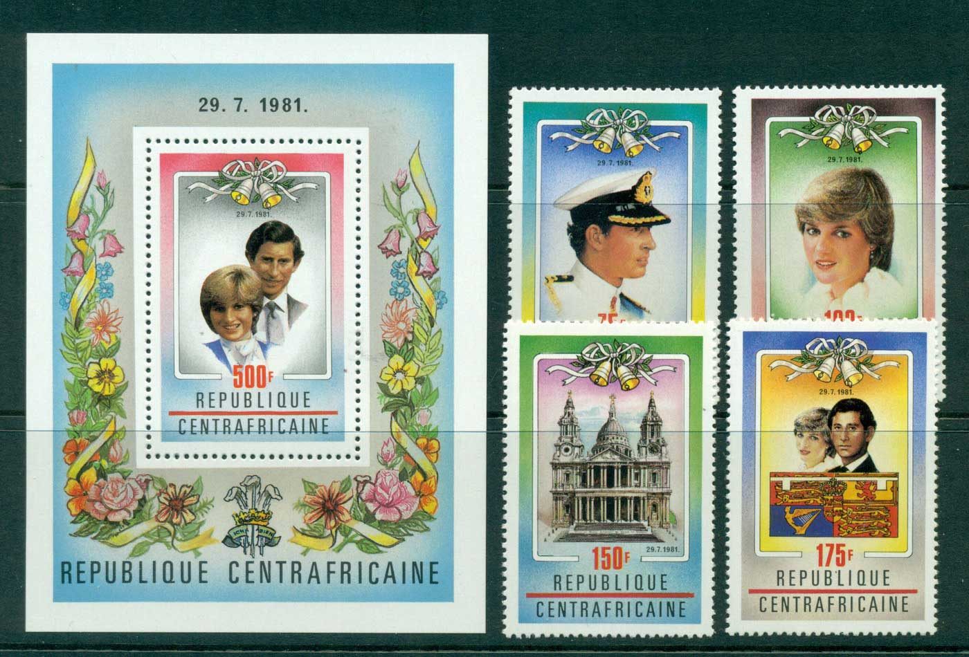 Central African Republic 1981 Charles & Diana Wedding + MS MUH Lot30305