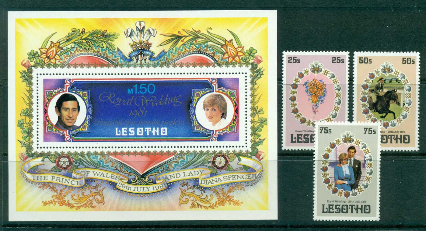 Lesotho 1981 Charles & Diana Wedding + MS MUH Lot30396