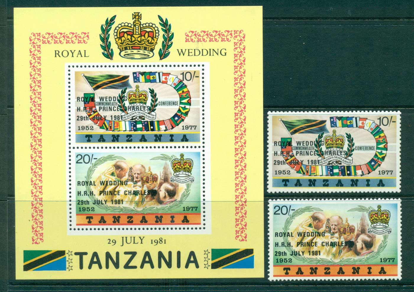 Tanzania 1981 Charles & Diana Wedding Opt + MS MUH Lot30451