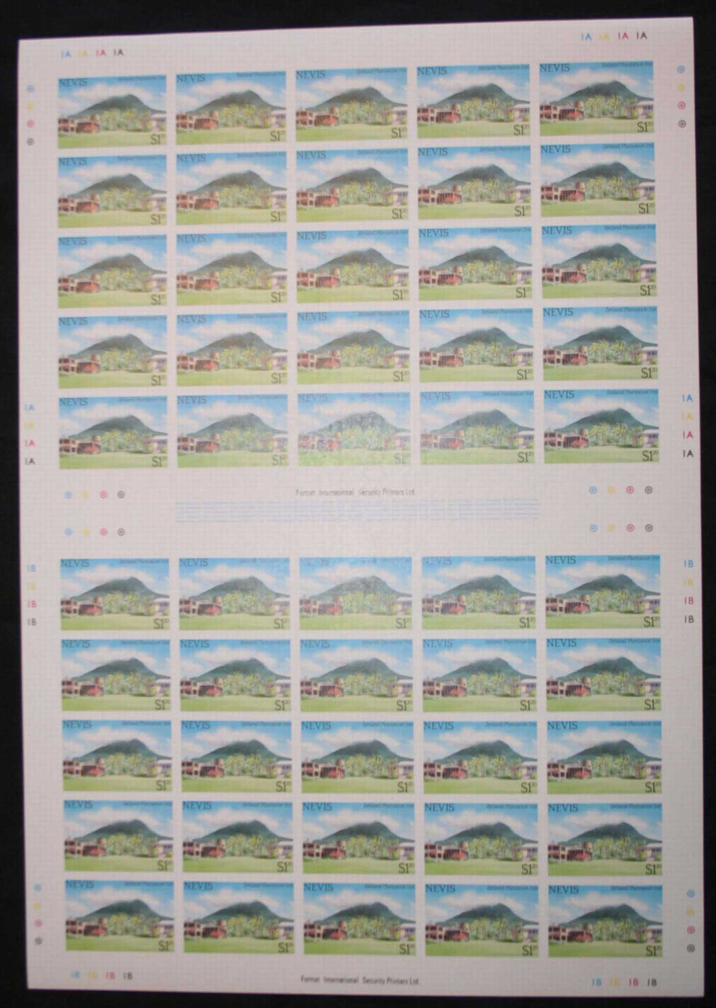 Nevis 1985 Tourism IMPERFORATE sheets, $1.20 x4, ex Format International Liquidation sale, late 1980s. MUH Lot30467