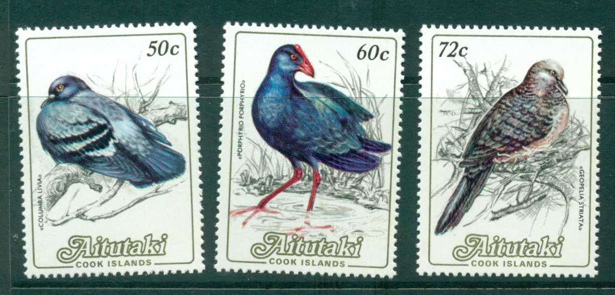 Aitutaki 1984 50c,60c,72c Birds MUH lot30974