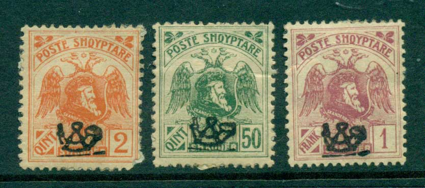 Albania 1920 Posthorn Opts (3)(faults) MNH/MH lot31001