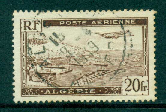 Algeria 1946 20F Brown Type II , with serif, FU lot31078