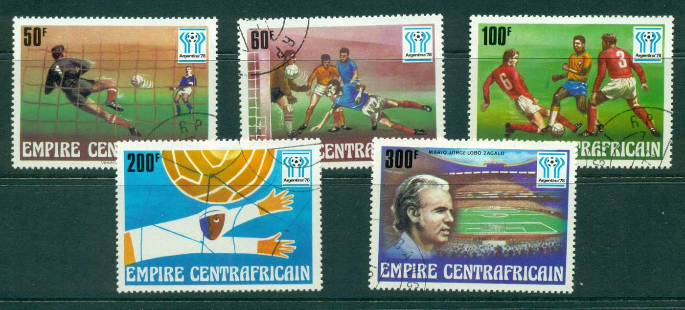 Central African Republic 1977 World Cup Soccer Argentina (50f cnr crease) CTO lot31415