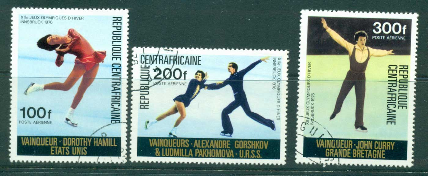 Central African Republic 1976 Olympic Skaters (3) Air Post CTO lot31425