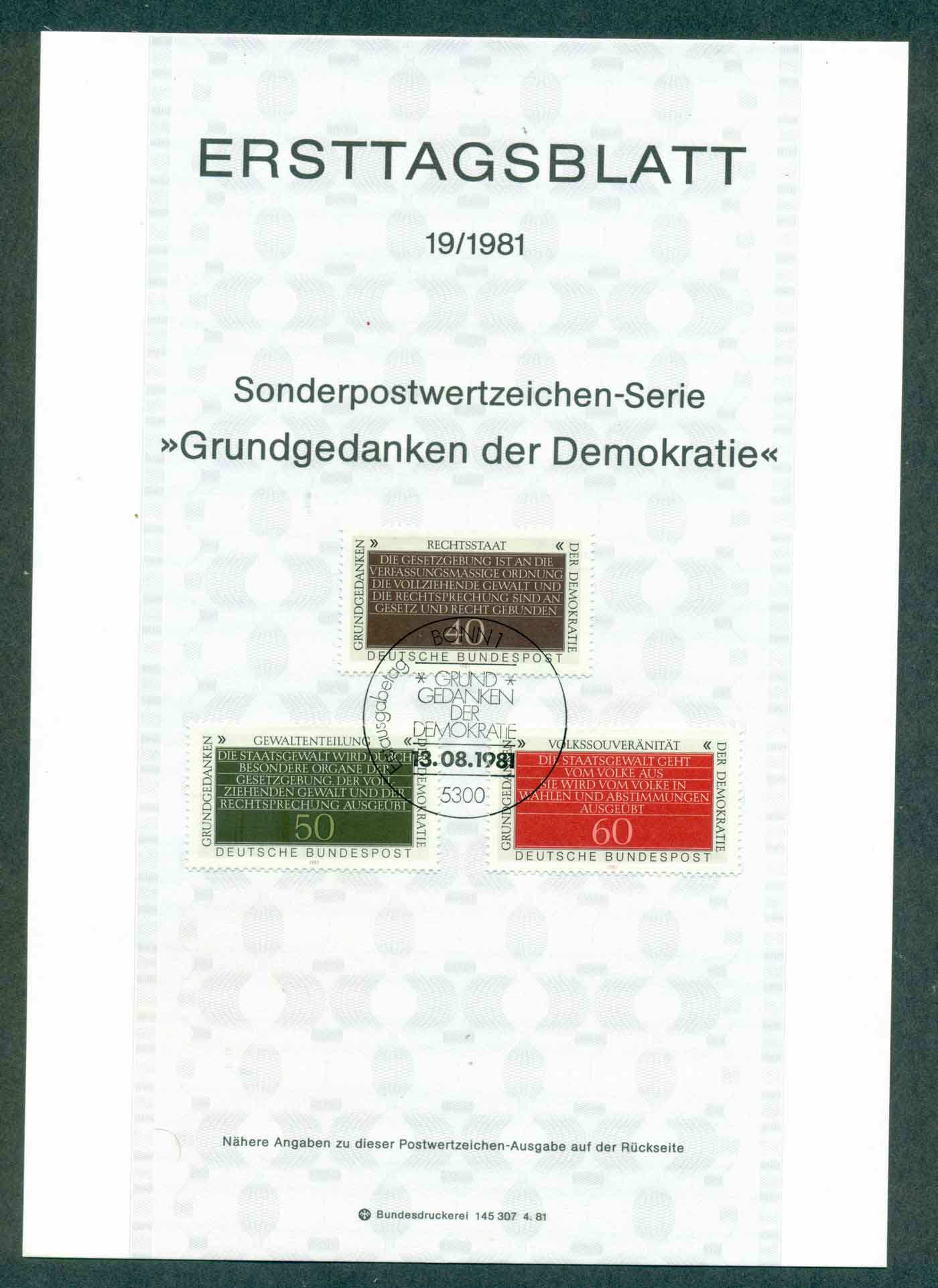 Germany 1981 Statement of Freedom & Democracy Ersttagsblatt FDI lot32217