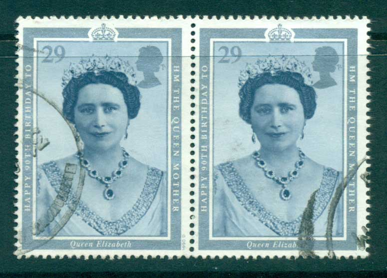 GB 1990 Queen Mother 90th Birthday 29p pair FU lot32985
