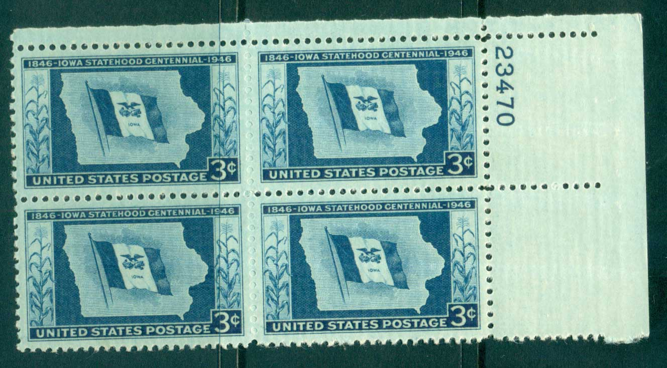USA 1946 Sc#942 Iowa Statehood PB#23470 MUH lot33547