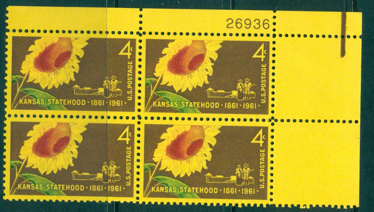USA 1961 Sc#1183 Kansas Statehood PB#26936 MUH lot33592