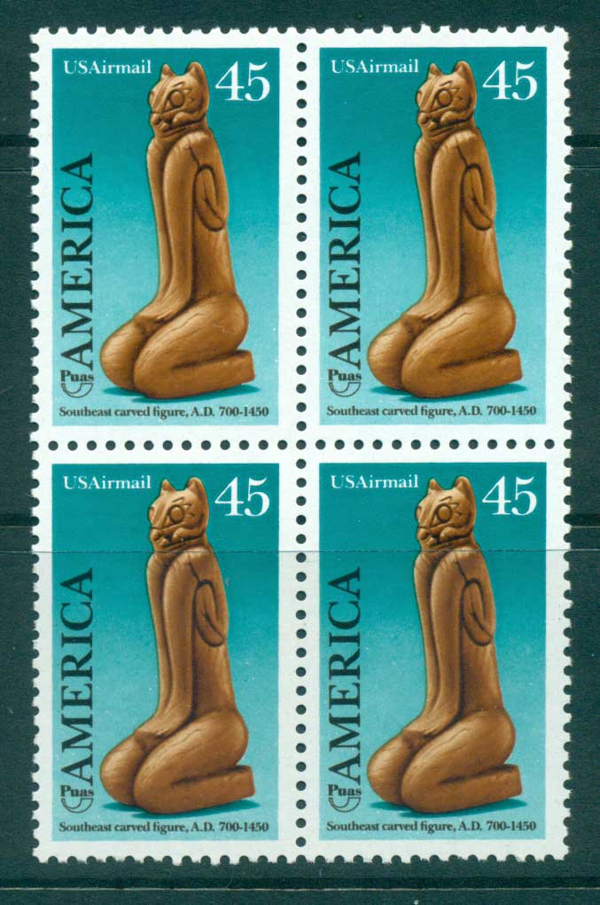USA 1989 Sc#C121 Pre-Columbian America Air mail Blk 4 MUH lot33717