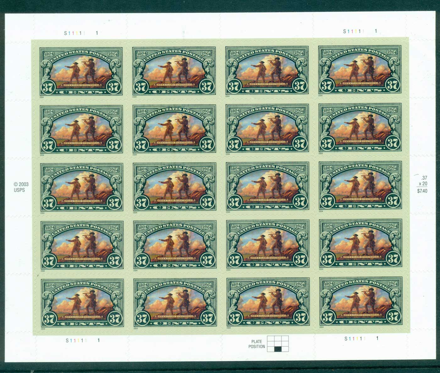 USA 2004 Sc#3854 Lewis & Clarke on Hill Pane 20 MUH lot33723