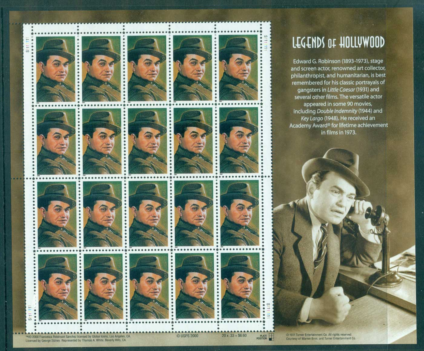 USA 2000 Sc#3446 Edward G. Robinson Pane 20 MUH lot33730