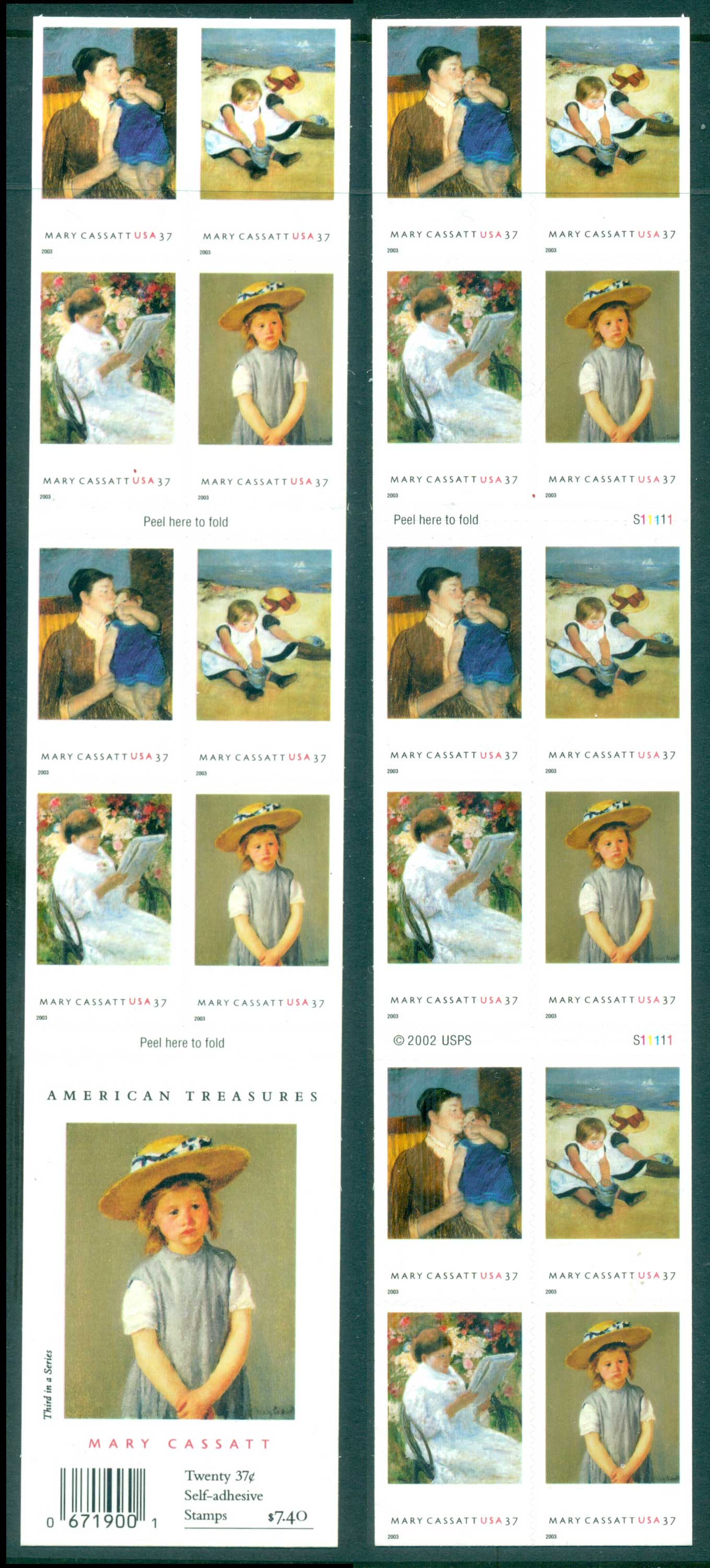 USA 2003 Sc#3807a Mary Cassatt Paintings Blkt 20 MUH lot33740