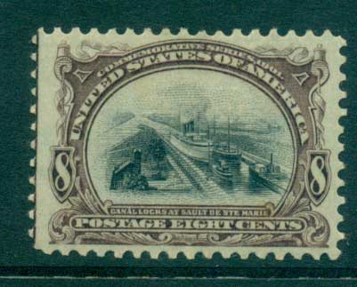 USA 1901 Sc#298 8c Pan American Expo guide line LHS MLH lot33781