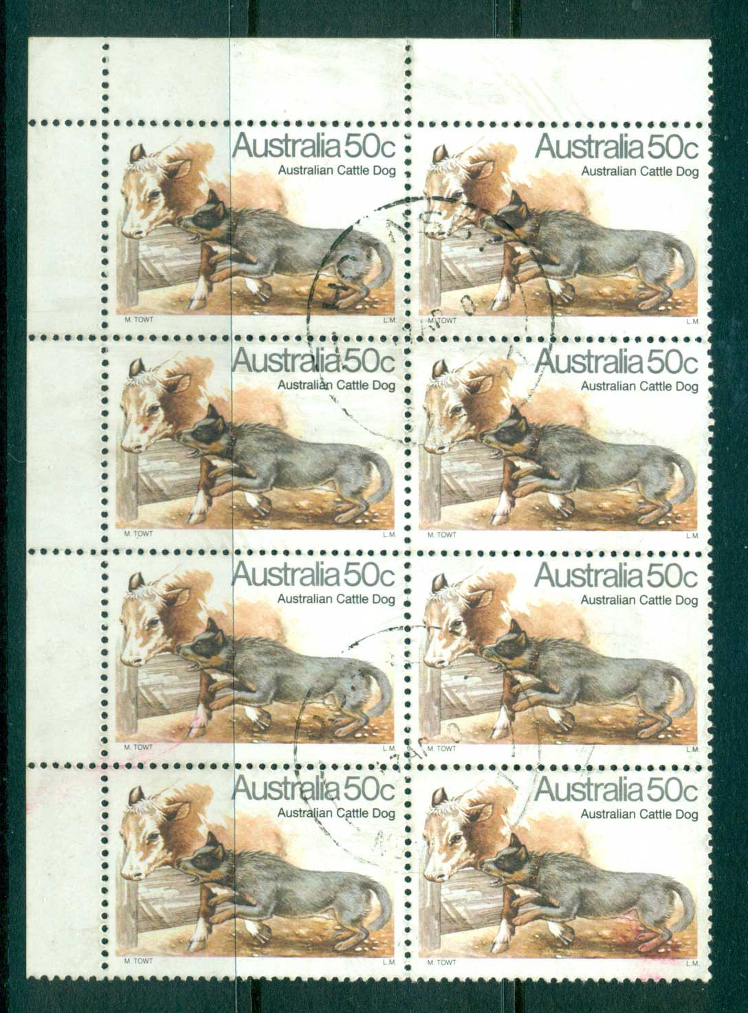 Australia 1980 50c Cattle Dog Blk 8 FU lot33954