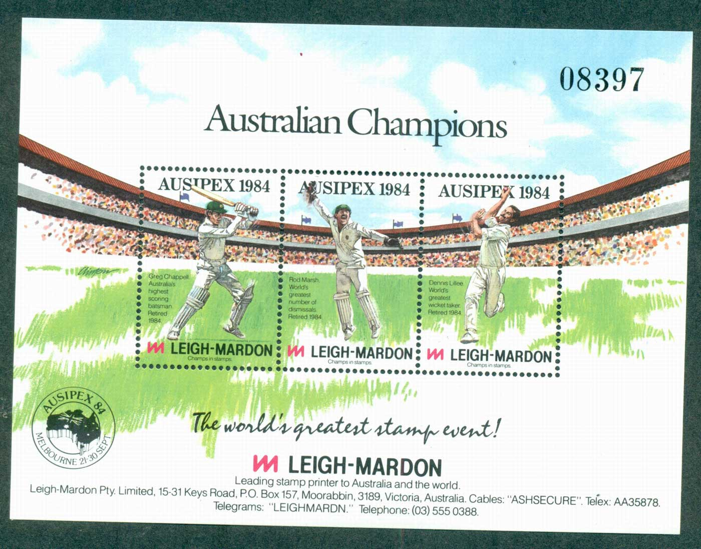 Australia 1984 AUSIPEX Cricketers Numbered MS MUH lot34283