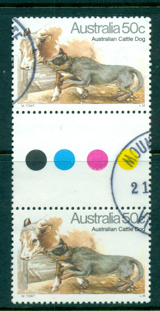 Australia 1980 Dogs 50c Cattle Dog Gutter pr FU lot34343