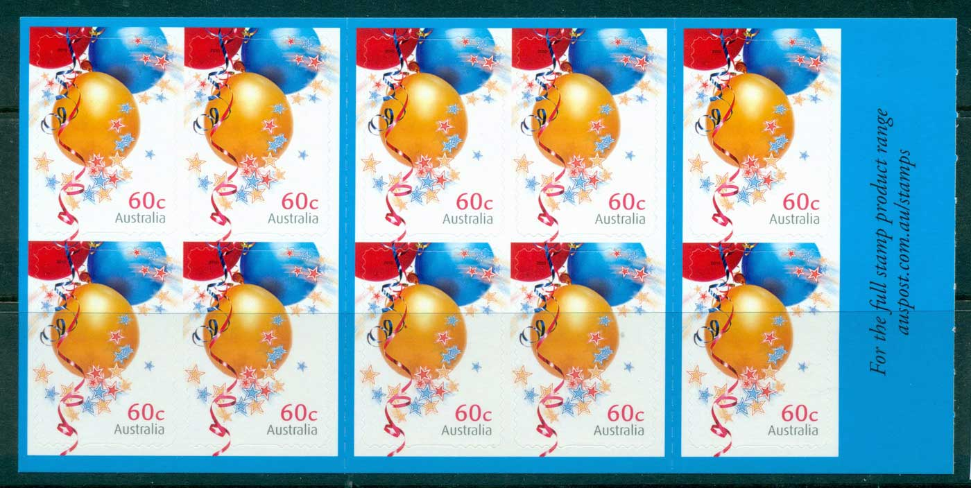 Australia 2010 $6 Special Occasions Balloon P&S Booklet MUH lot34532