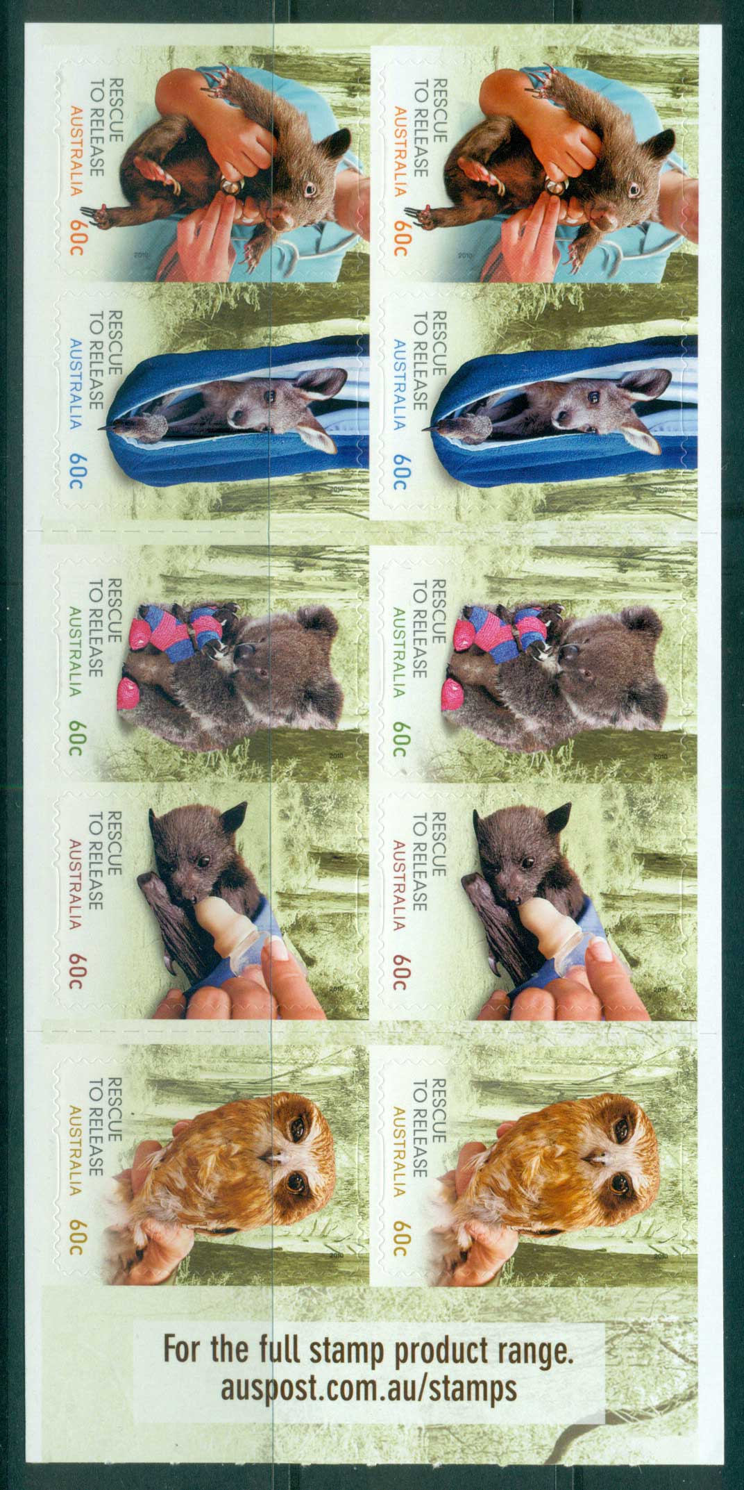 Australia 2010 $6 Wildlife Rescue P&S booklet MUH lot34617
