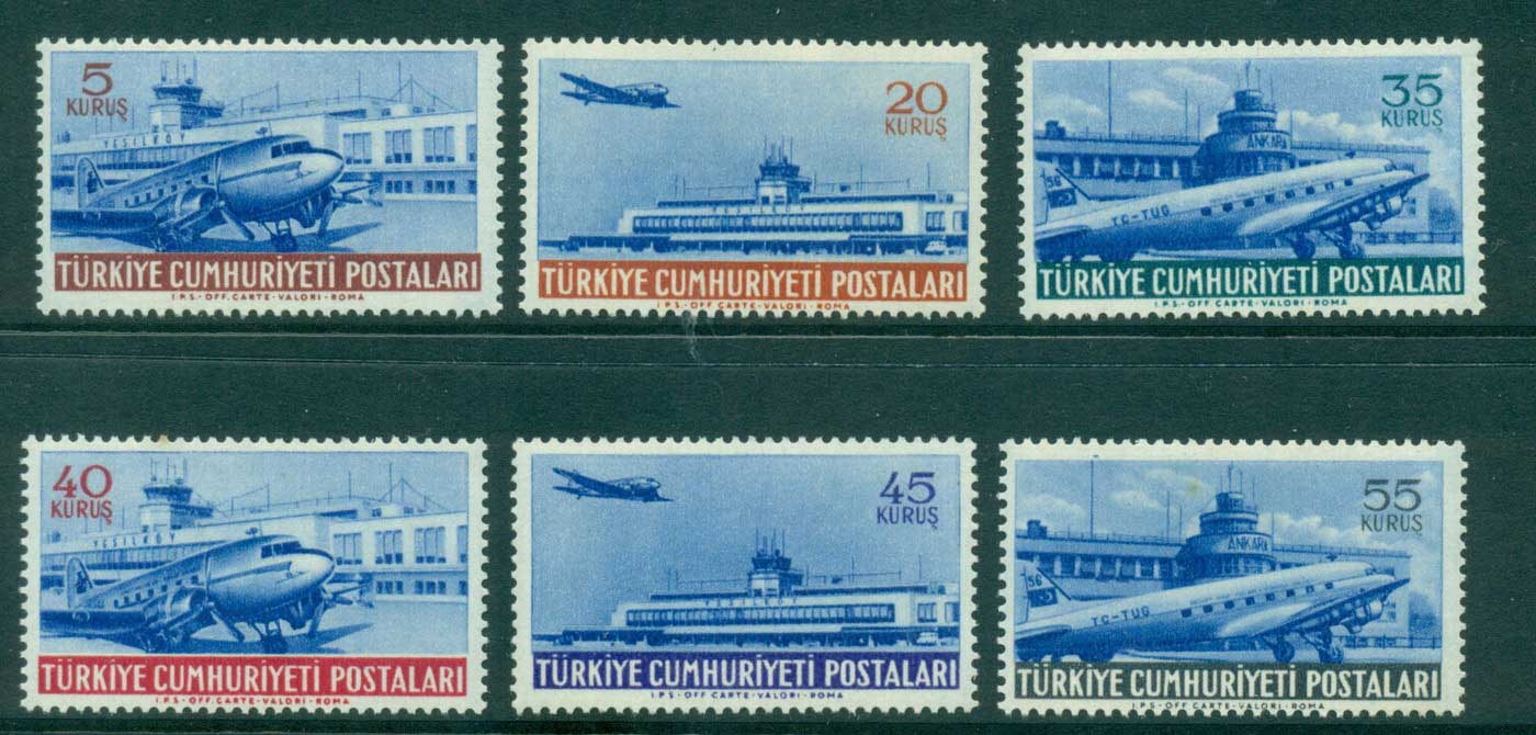 Turkey 1954 Air Mail (lt tone spots) MLH lot34757