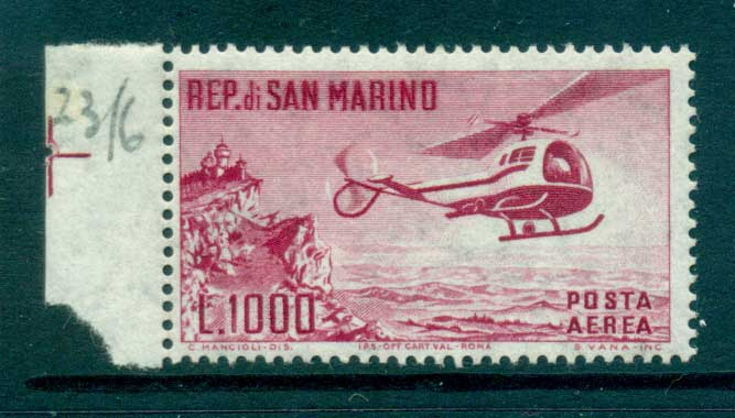 San Marino 1961 Helicopter & Mt Titano MLH lot34837
