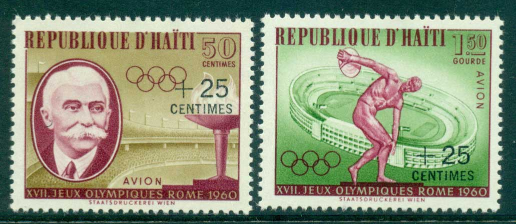 Haiti 1960 Olympic Games Surch (2) MLH lot35481