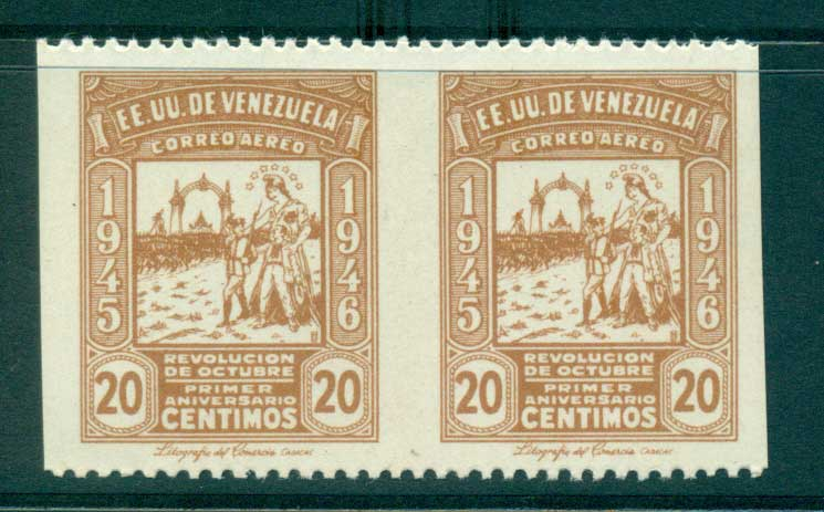Venezuela 1946 20c Allegory IMPERF between MUH lot35509