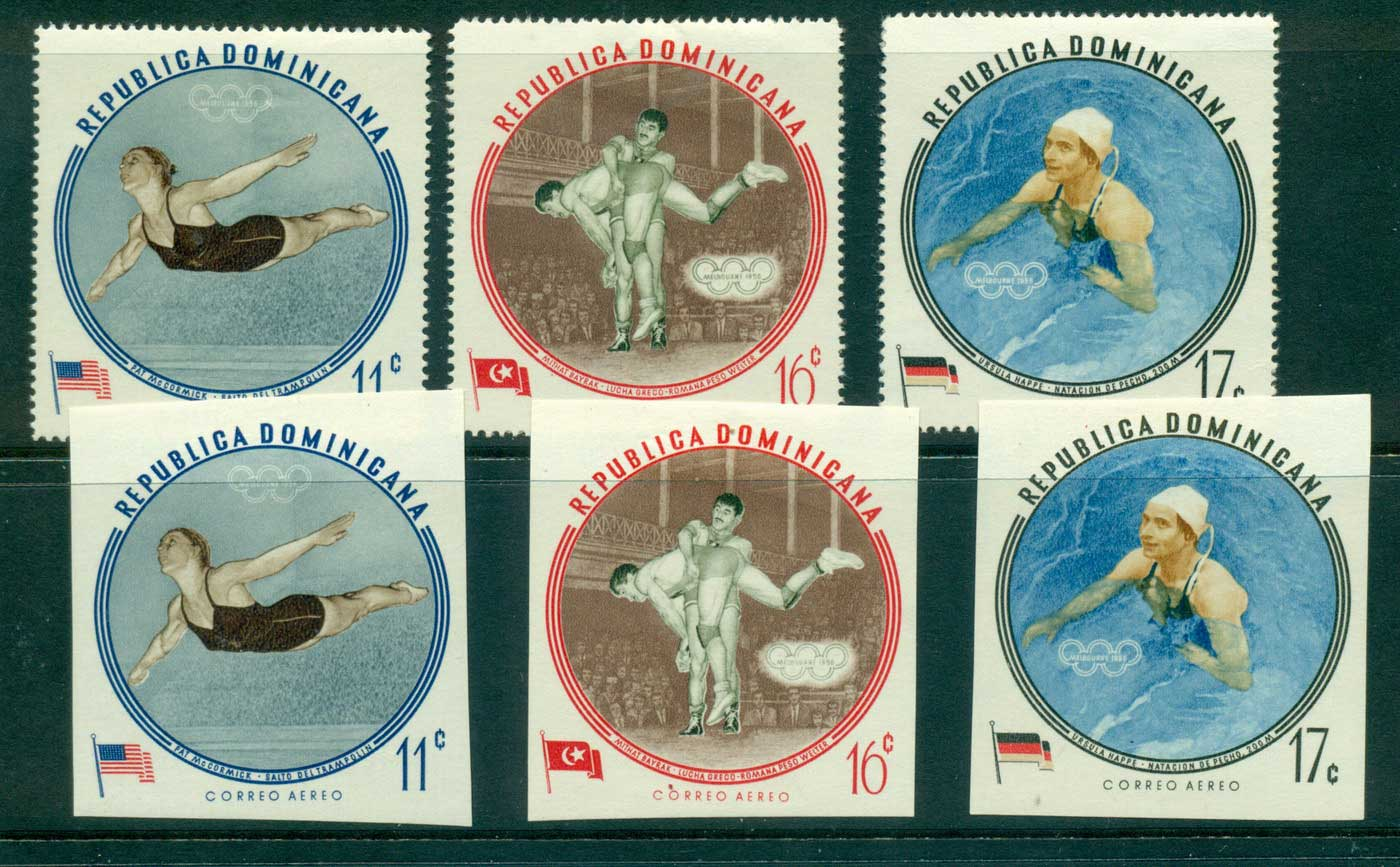 Dominican Republic 1960 Olympic Games Air Perf + IMPERF MLH lot35809