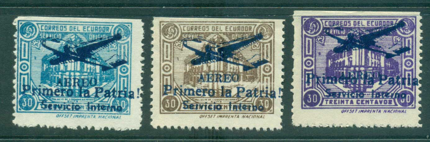 Ecuador 1947 Official Airmail Opt Primero la Patria (Essays) MNG lot35843