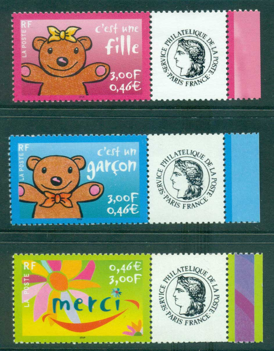 France 2001 Announcements + labels (3)MUH lot36085