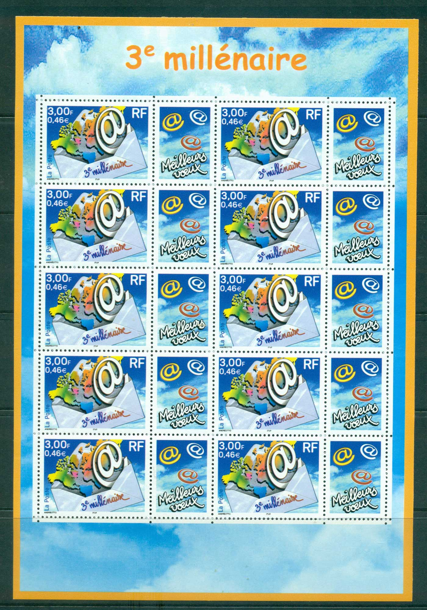 France 2000 Start of the Third Millenium MS MUH lot36109