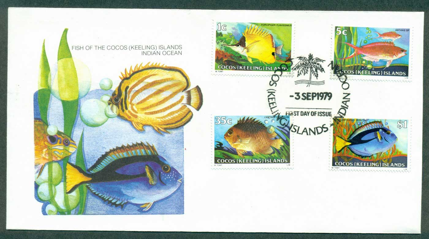 Cocos Keeling Is 1979 Fish 1,5,35c $1 FDC lot37103
