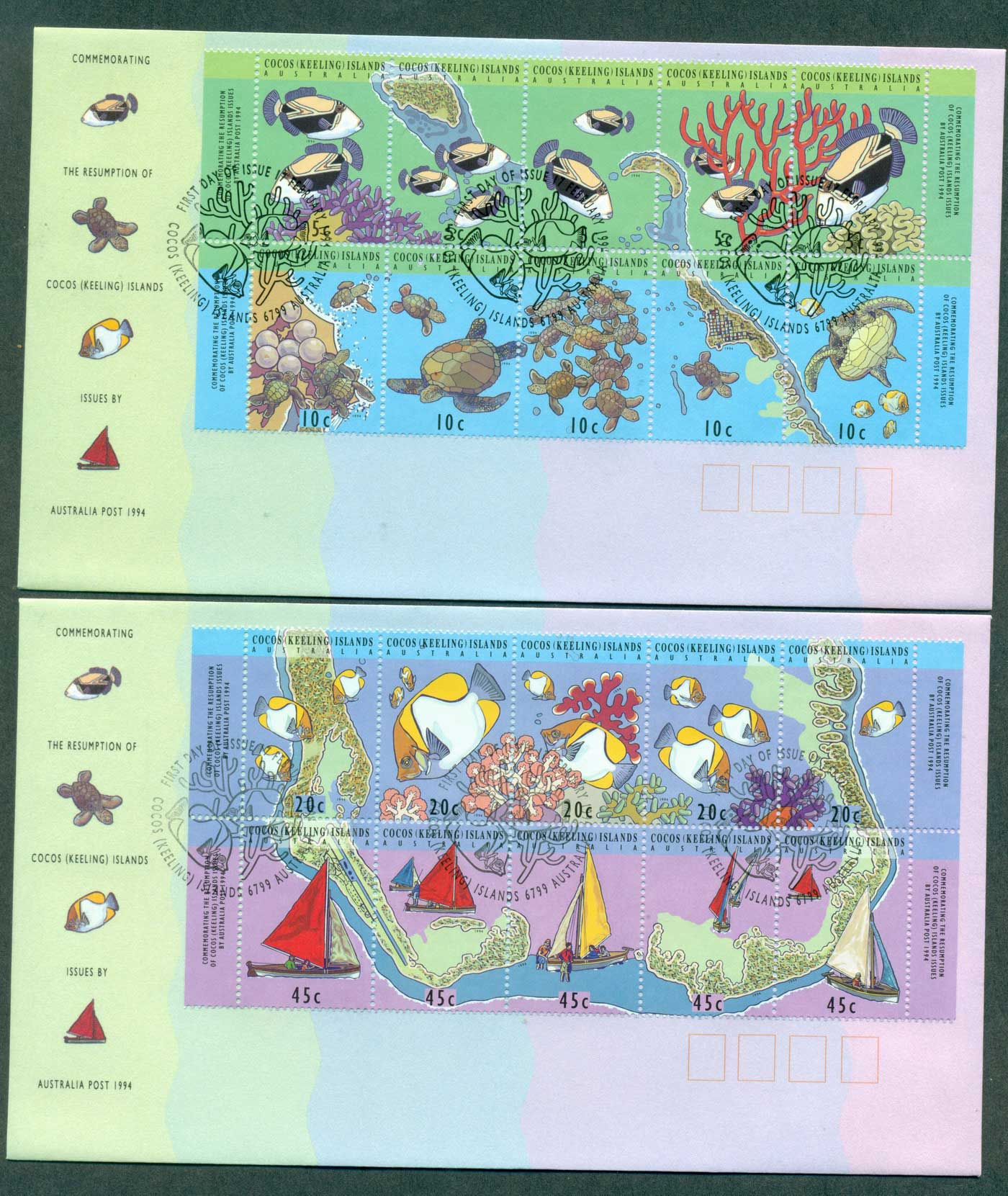 Cocos Keeling Is 1994 Resumption of Issues (2) FDC lot37106
