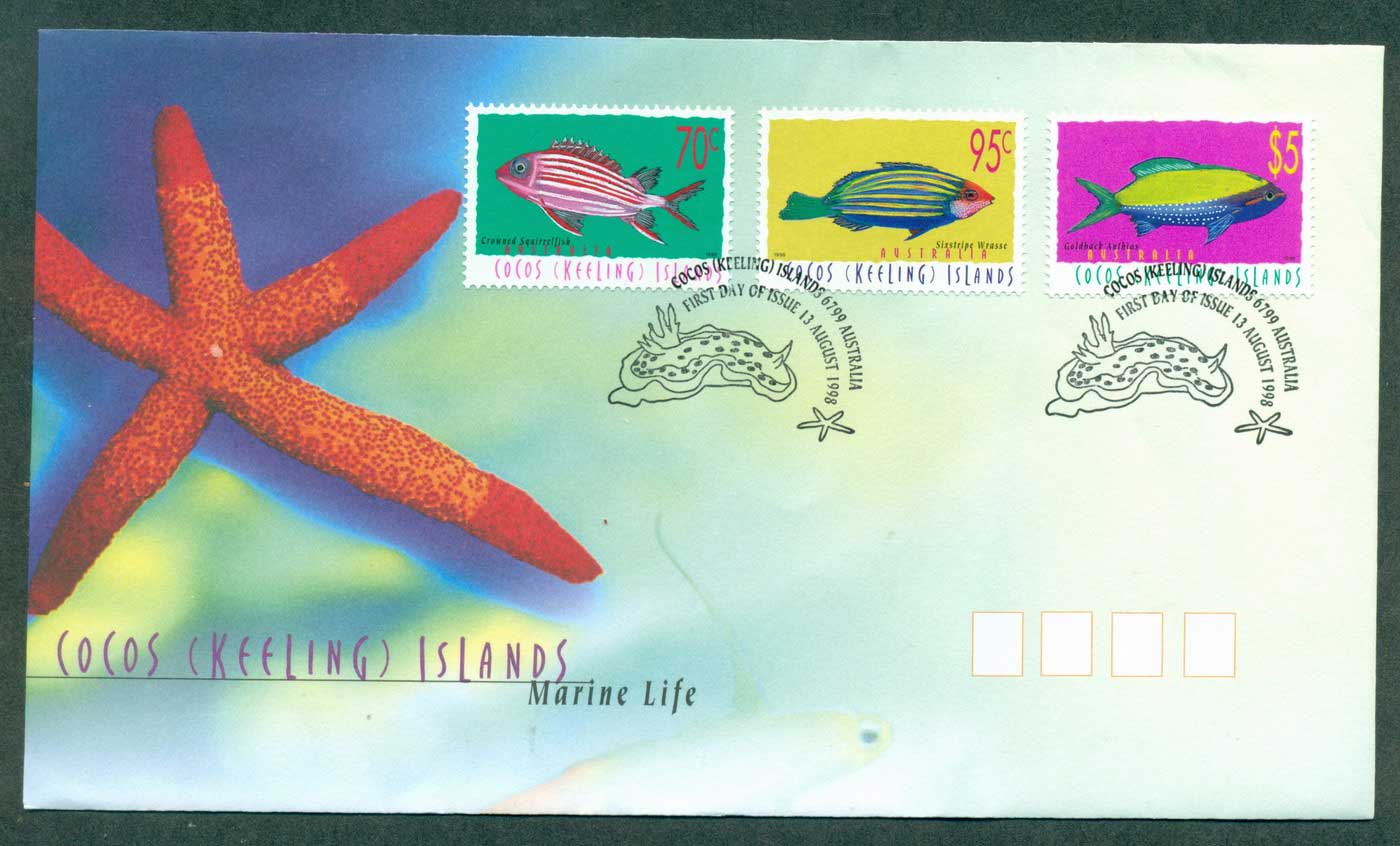 Cocos Keeling Is 1998 Marine Life 70,95c, $5 FDC lot37107