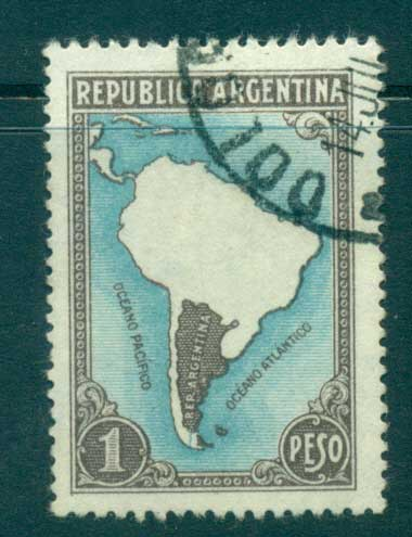 Argentina 1937 1p Map Sc#446 FU lot37129