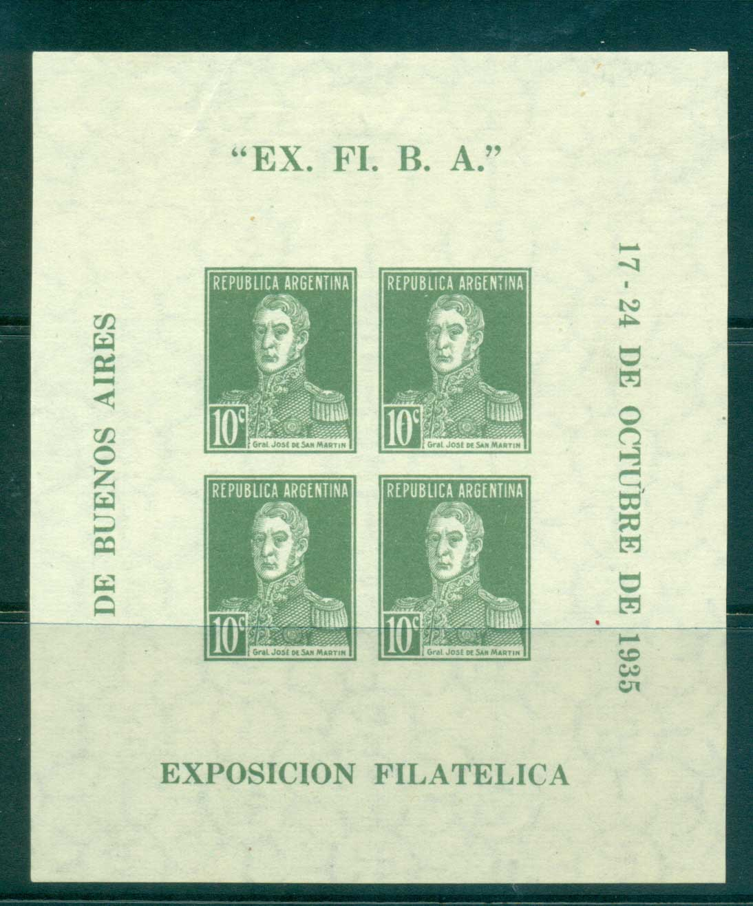 Argentina 1935 Philatelic Exhibition Buenos Aires MS MLH lot37133