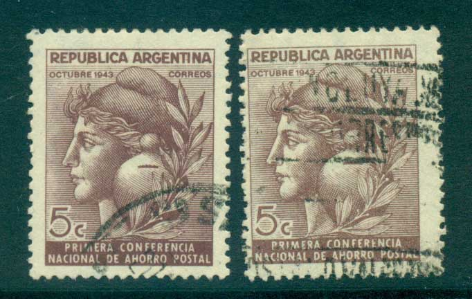 Argentina 1943 National Postal Savings Both Wmks FU lot37154
