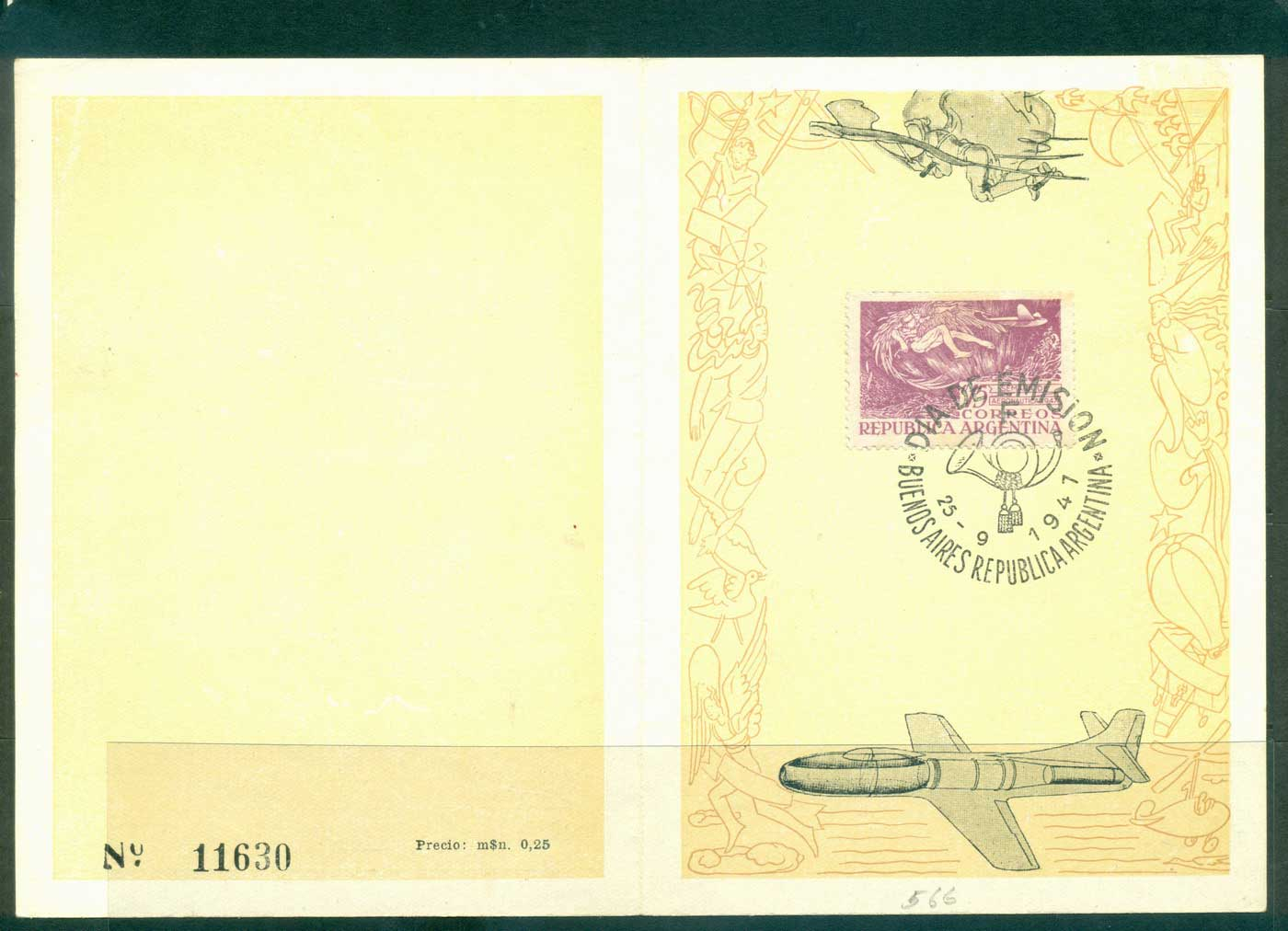 Argentina 1947 Aviation Week FDI on card FU lot37173