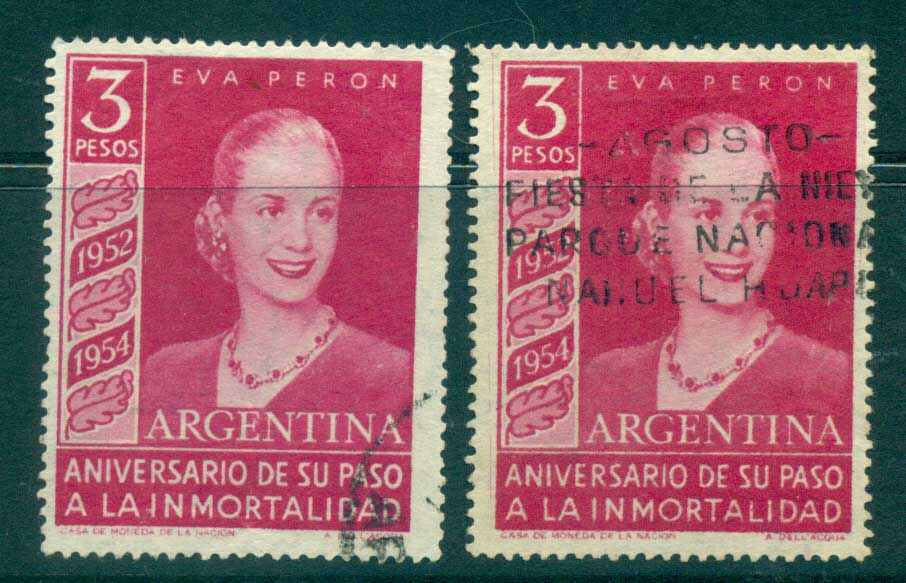 Argentina 1954 3p Eva Peron Death anniv both Wmh FU lot37202