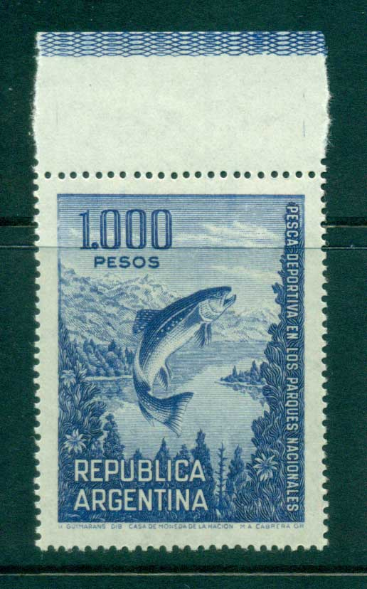 Argentina 1974 1000p as 10p Trout MLH lot37451
