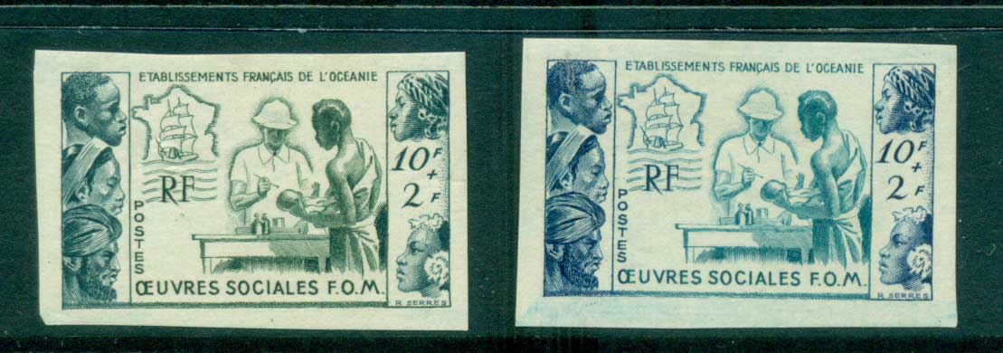 French Polynesia 1950 Tropical Medicine 2x IMPERF PROOFS MLH lot38432