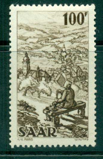 Saar 1949-51 100f View of Weibelskirchen MUH lot38478