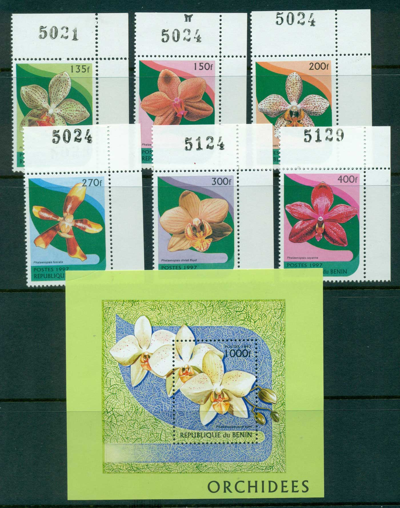Benin 1997 Orchids + MS MUH lot38538