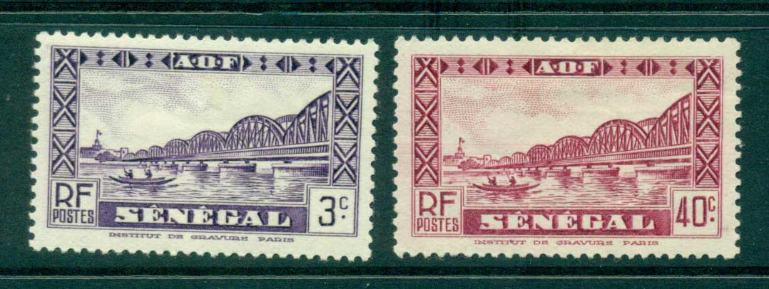Senegal 1935-40 3c, 40c Faidherbe Bridge MLH lot38559