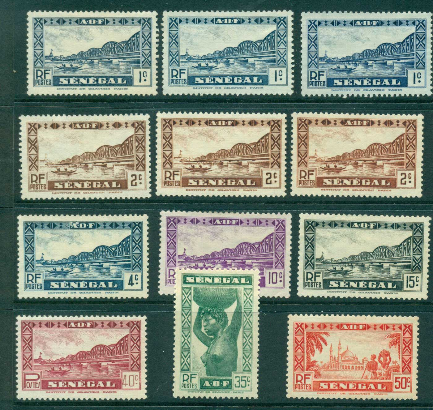 Senegal 1935-40 Pictorials Asst (12) MNG lot38584