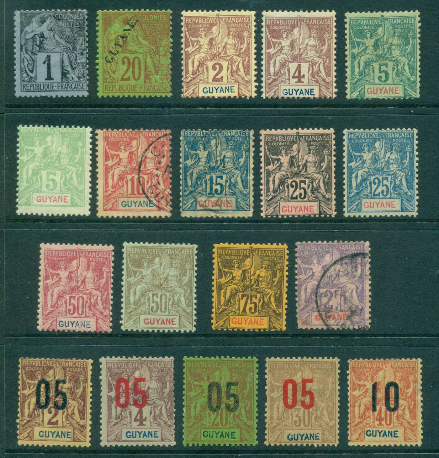 French Guiana 1892-1904 Navigation & Commerce asst (19) FU/MLH lot38602