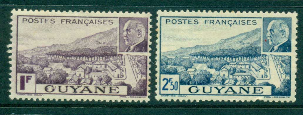 French Guiana 1941 Marshal Petain (2.50 thinned, space filler) MLH lot38614