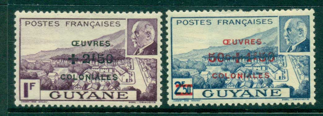 French Guiana 1944 Colonial Development Fund (gum adhesions, spacefillers) MH lot38619