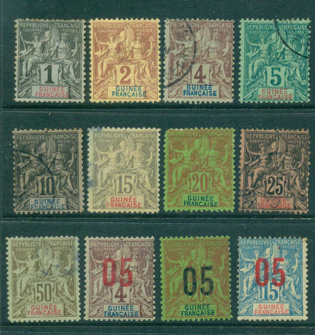 French Guinea 1892-1900 Navigation & Commerce Asst (12) MLH/FU lot38628